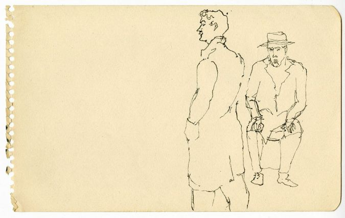 Two Men, c. 1940s Black ink 8 x 5 inches