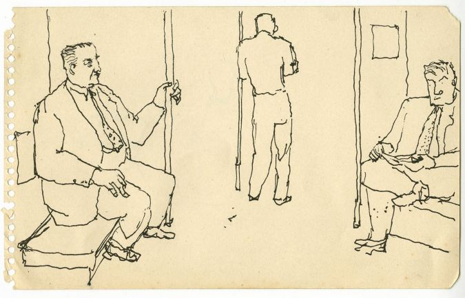Three Men on the Subway, c. 1940s Black ink 8 x 5 inches