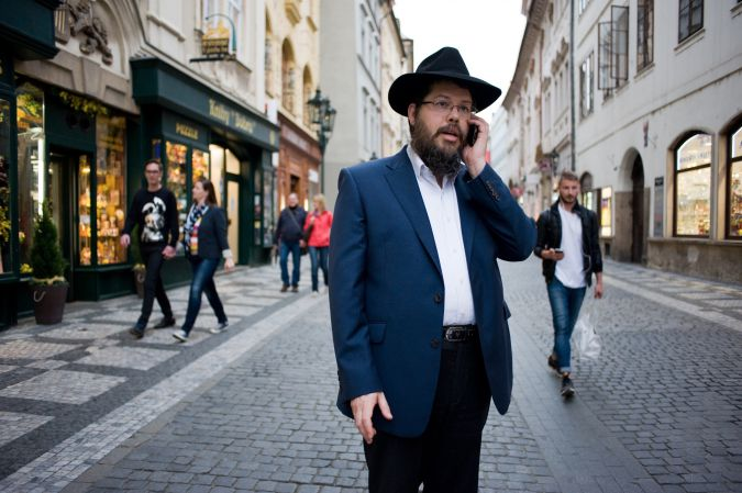 Walking While Jewish:Chabad rabbi Manis Barash strolls the streets of Prague's Old Town with no fear of harassment. A Prague resident for more than 20 years, he has never experienced an incident.