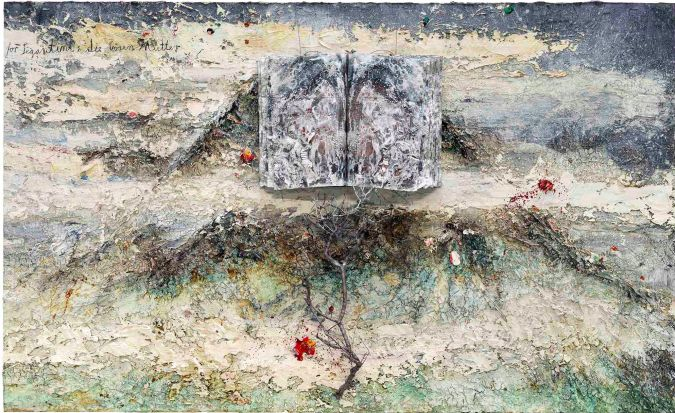 ANSELM KIEFER For Segantini: die bösen Mütter (For Segantini: The Bad Mothers), 2011–12 Oil, emulsion, acrylic, shellac, wood, metal, lead, and sediment of an electrolysis on canvas 110 1/4 × 181 1/8 × 21 5/8 inches (280 × 460 × 55 cm)