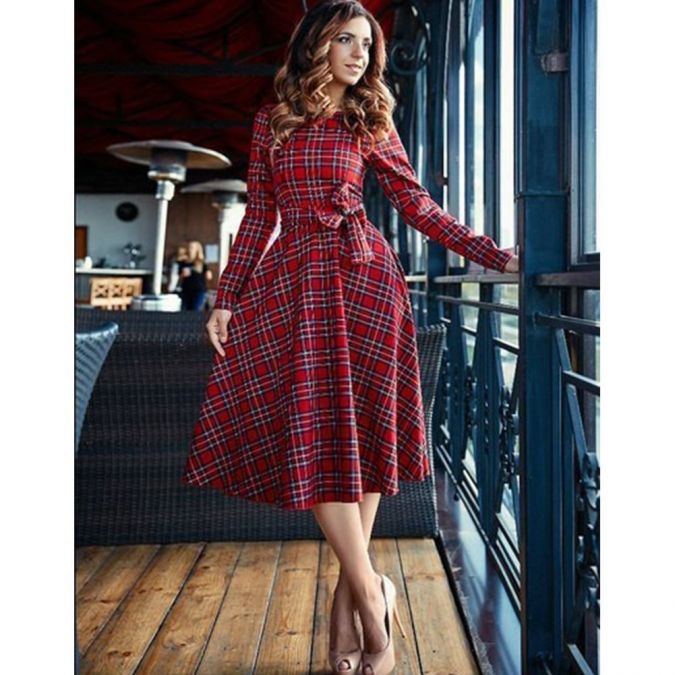 Mercu Womens Long Sleeve Plaid Dress Cocktail Evening Party Dresses, $12.15-$12.80