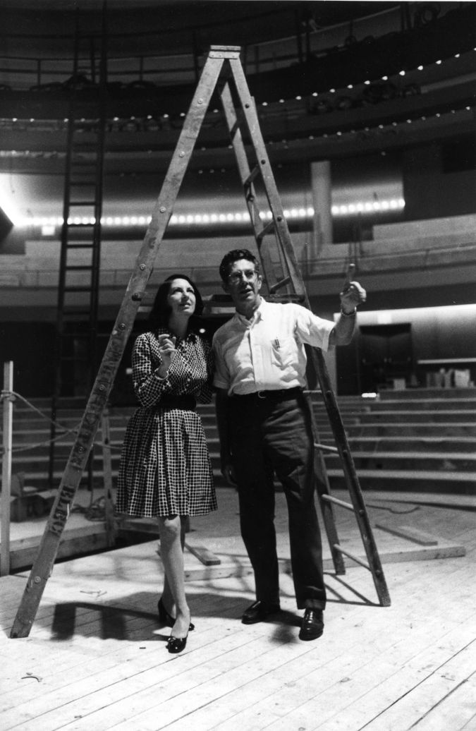 Arena Stage co-founders Zelda and Tom Fichandler during the construction of the Kreeger Theater in 1971.