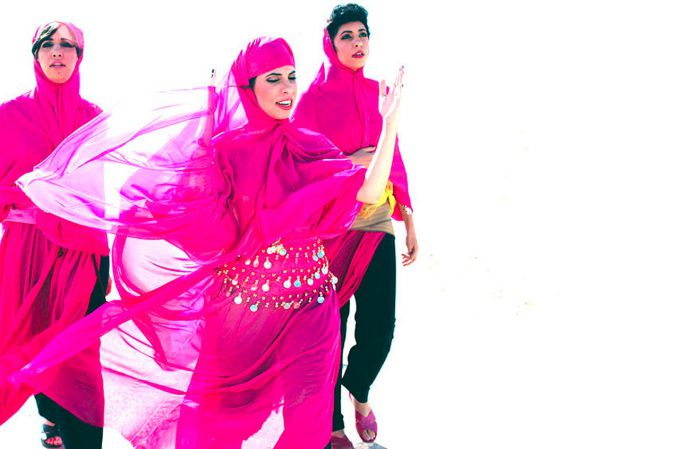 Appealing to Arab and Israeli Ears:  The members of A-WA donned pink hijabs for a music video in which they perform a dance called the 'Yemenite Step.'