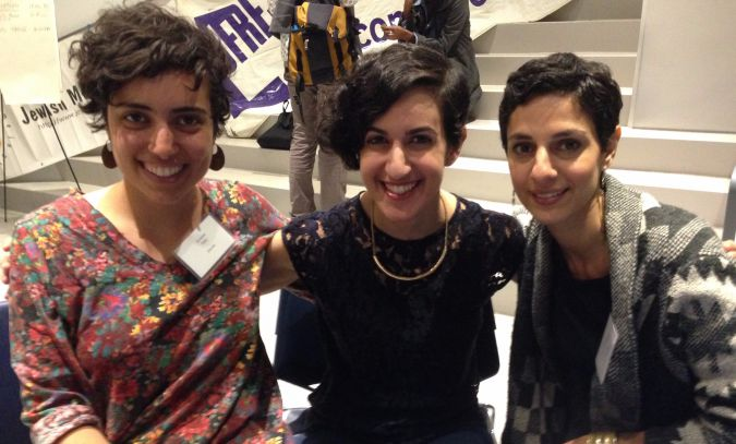 Baghdadi Reunion: The author (center) with Annabel Raby and Sabrina Hayeem-Ladani.