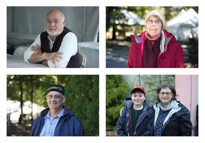 Members of the community with Jewish roots. Clockwise from top left: Jonathan Granoff, Nina Ginty, Beth and Samuel Dalil Muhaiyaddeen Sheard, and David Katz.