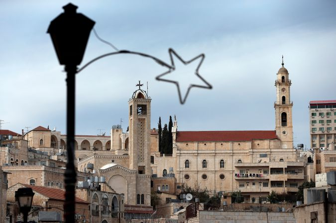 Christmas decorations are up as Bethlehem gets readies for the festive season.