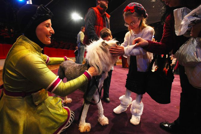 "Visually impaired children participate in a ""touch session"" with performers inside the ring at the Big Apple Circus on November 9, 2011 in New York City."