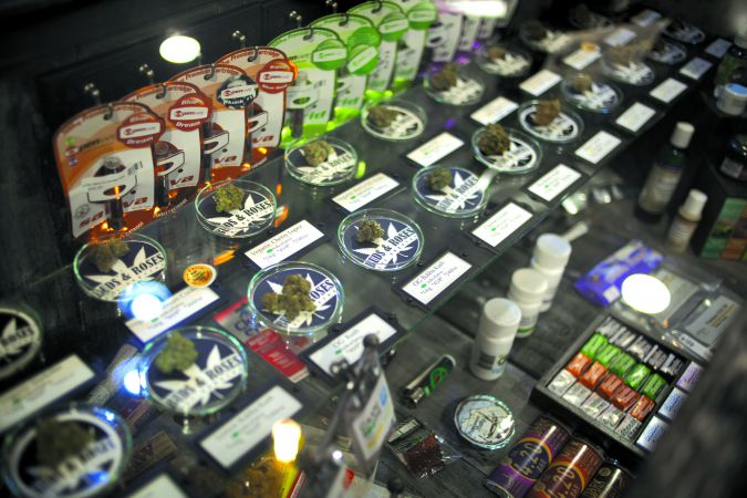 Take Your Pick: A case displays the wide array of plants, concentrates and edibles at Buds&Roses, a medical marijuana dispensary on Ventura Boulevard in L. A.