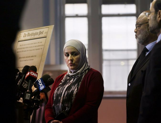 Nadia Kahf attends a news conference in Jersey City held by the Council on American-Islamic Relations (CAIR) after the San Bernardino shooting spree.