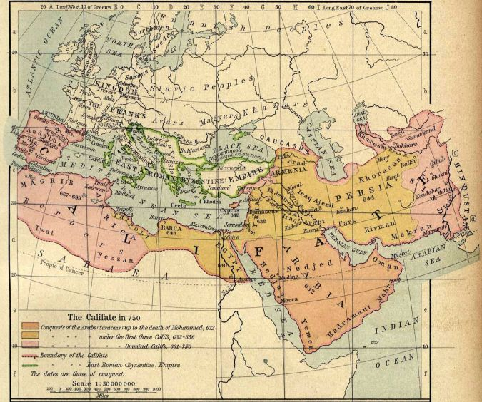 The extent of the Umayyad caliphate in the middle of the eighth century.