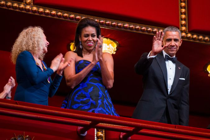 Carole King and the Obamas applaud at the Kennedy Center Honors in December.