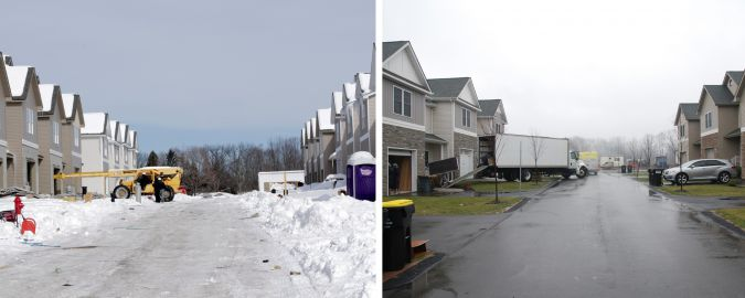 Chestnut Ridge under snow in 2014, left, and with construction completed in 2016.