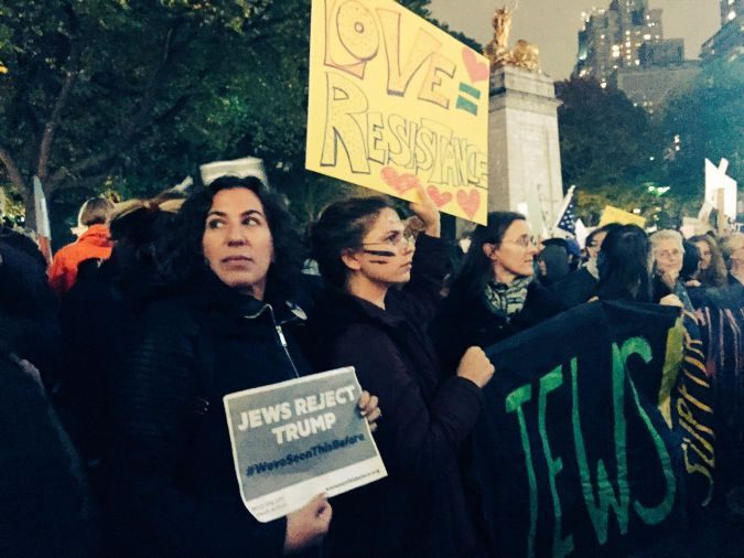 Cynthia Greenberg, at left, marched in Manhattan in protest of Donald Trump's election.