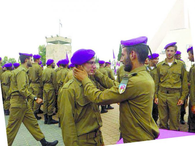 Initiation: Gordon receives his purple beret during an IDF ceremony in May 2014.