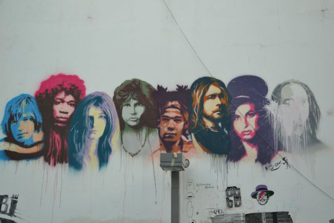 "The ""27 Club"" of rock musicians who died at 27. The artist, Jonathan Kislev, included himself on the far right, said Sharett, and then covered his face with paint."