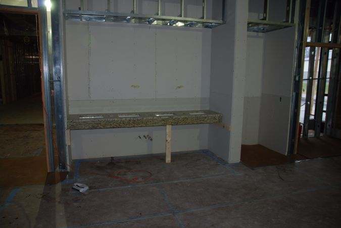 Stations for ritual hand washing are already installed in the space that will be a dining room.