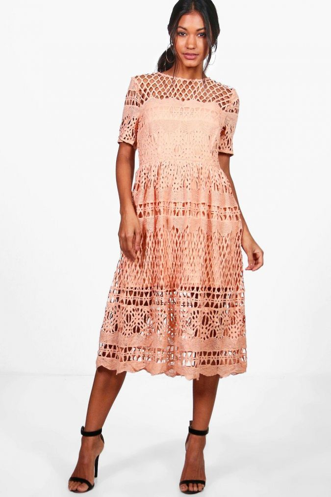 Boutique Vi Corded Lace Panelled Skater Dress, on sale for $35
