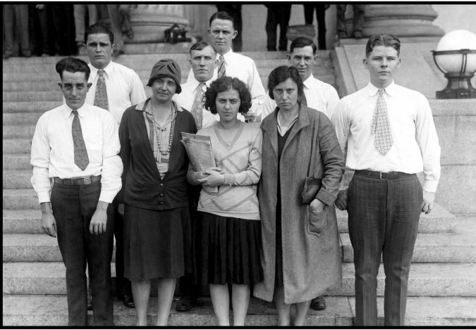 The Gastonia Nine: Amy Schechter (front, second from right) with the other eight workers set free during the 1929 Loray Mill Strike.