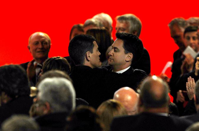 David Miliband, left, with brother Ed Miliband in happier times.