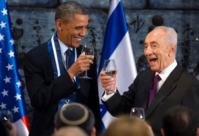 March, 2013:  Shimon Peres toasts President Barack Obama after presenting him with the Presidential Medal of Distinction, the highest civilian honor in Israel.