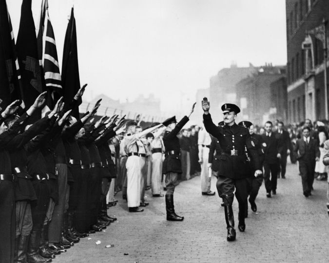 Fascist March: Oswald Mosley led the British Union of Fascists on a march through London's East End.