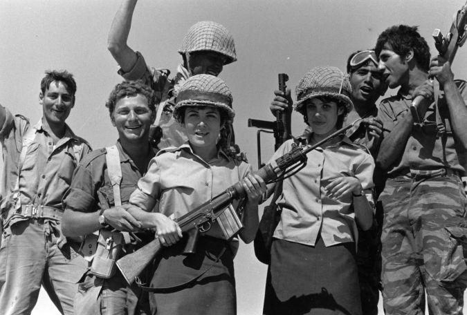 Israeli troops celebrate in June 1967.