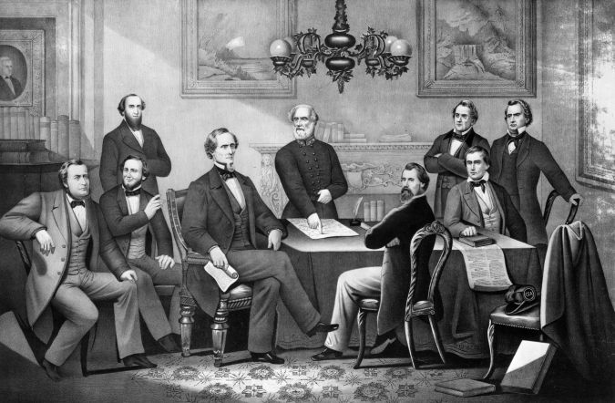 A portrait of CSA President Jefferson Davis with his cabinet, circa 1863. Benjamin is second from left, seated just behind Davis.