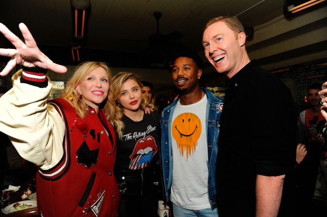 From left to right: Courtney Love, Chloe Grace Moretz, Michael B. Jordan, and Stuart Vevers attends Coach 1941 Women's Spring 2017 Show - After Party at Lucky Strike on September 12, 2016 in New York City.