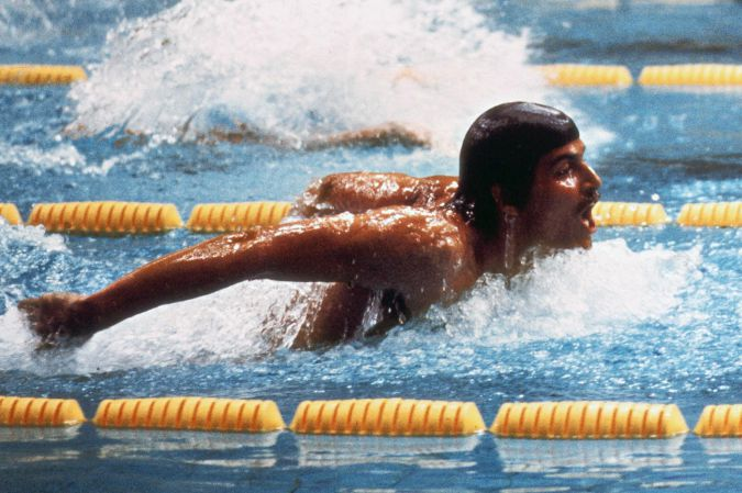 US swimmer champion Mark Spitz in action during the Olympic 200m Butterfly event 28 August 1972 in Munich.