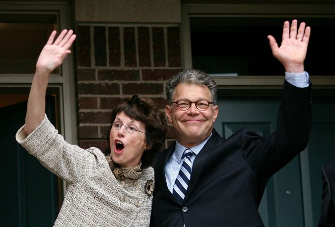 Sen. Al Franken (D-MN) celebrates with his wife Franni Franken in front of his home June 30, 2009 in Minneapolis, Minnesota after winning a close election against Republican Norm Coleman.