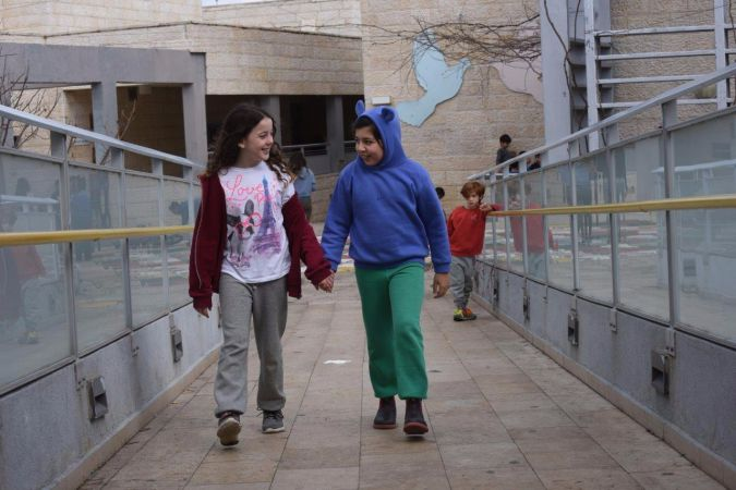 Students walk together at Jerusalem's Hand in Hand school.