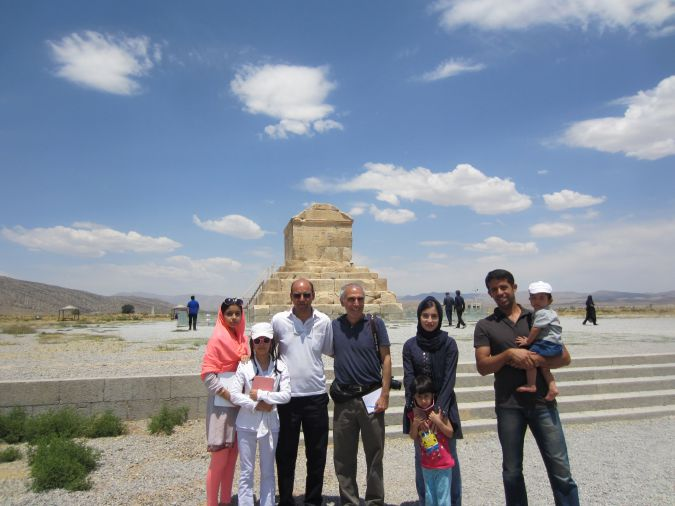 Larry Cohler-Esses with Mohammad Parvi and his family at Cyrus' tomb.