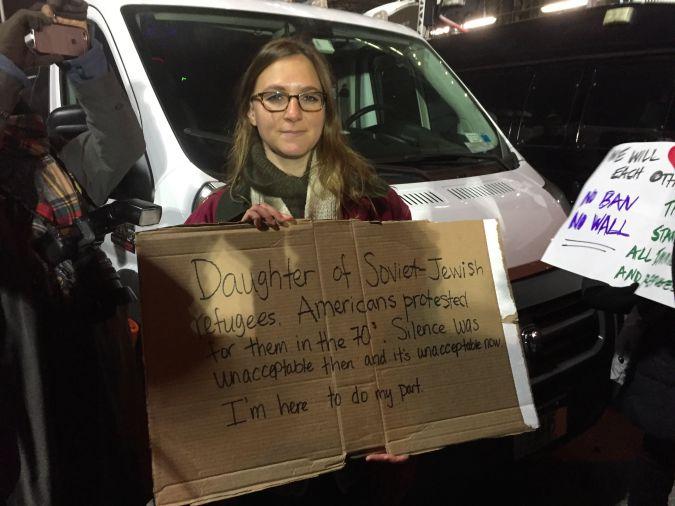 Protester Elianna Kan at the JFK rally.