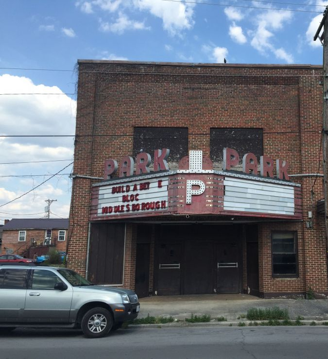 A shuttered theater sits off Cumberland Avenue in downtown Middlesboro, Kentucky.