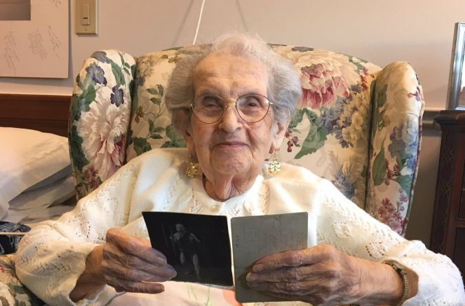 Remembering the Strong Man: Martha Gold with a photo of her Uncle Max.