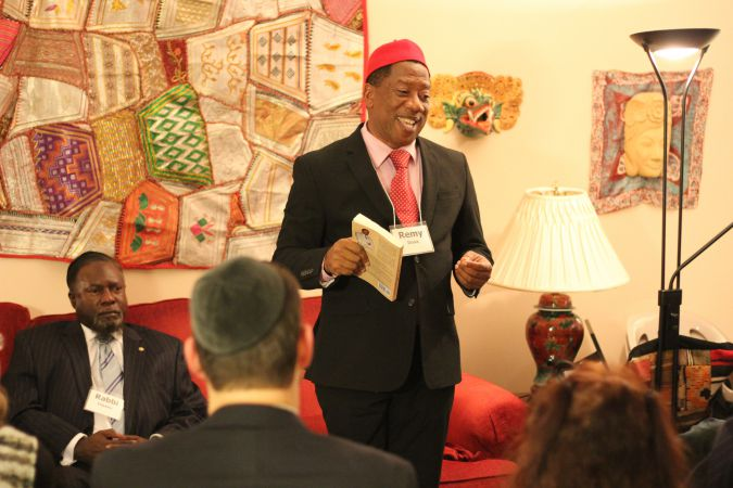 Ambassador: Remy Ilona, from Nigeria, speaks to a crowd in New York about his Igbo community, where many are not interested in Jewish conversion or immigration to Israel.