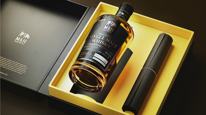 A bottle of Milk and Honey's Single Malt Whisky.