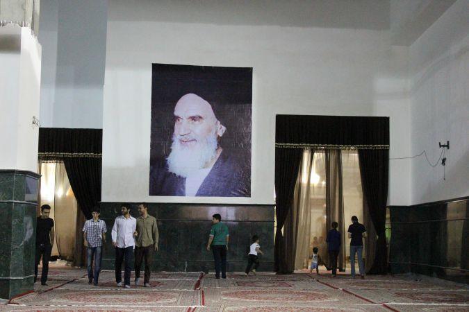 Inside Ayatollah Khomeini's tomb.
