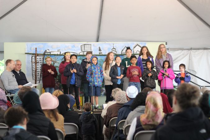 Children from the Fellowship sing at a public performance in Philadelphia.