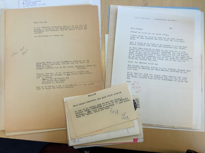 From the Archive: Isaiah Sheffer's archive includes correspondence with his neighbor and business partner Eric Bentley, among other transactions.
