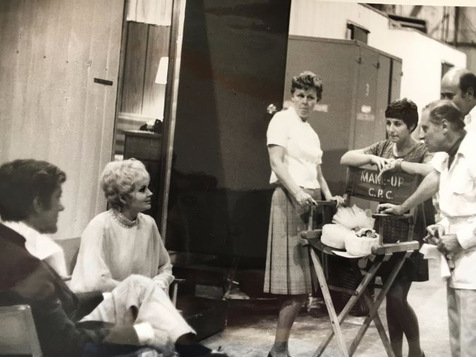 On The Set Of 'The Comic': Dick Van Dyke (far left), Sybil Adelman Sage (behind director's chair) and Carl Reiner (behind Sage) on the set of the 1969 comedy.