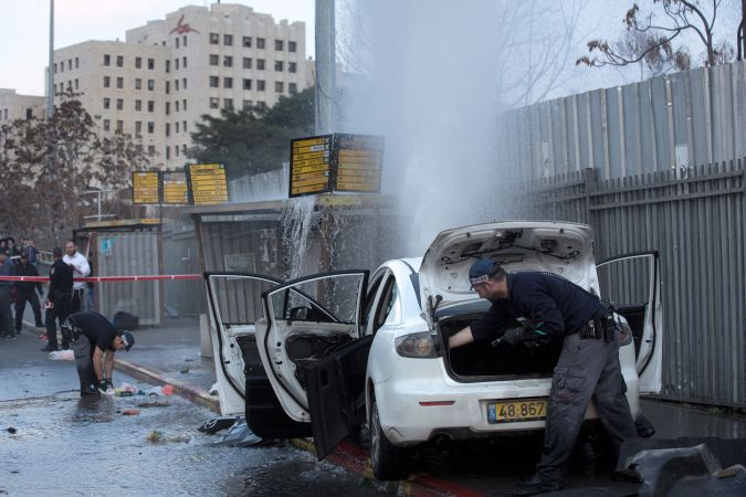 Palestinian rammed car into Jerusalem bus stop, injuring at least nine.