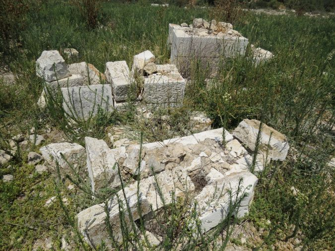 Desecrated graves from the cemetery of the Palestinian Jimzu village in central Israel.