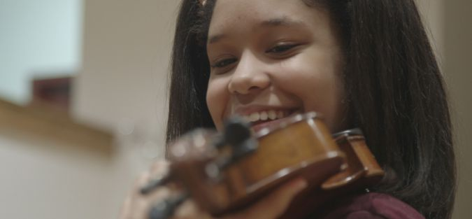 Brianna Perez plays Joseph Feingold's violin.