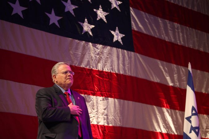 CUFI founder, pastor John Hagee at the Christians United for Israel summit in Jerusalem, March, 8, 2010
