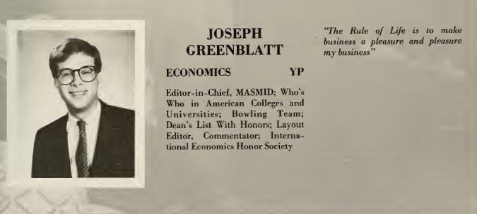 "Joseph Greenblatt's college yearbook photo from the 1984 edition of Yeshiva College's ""Masmid."""
