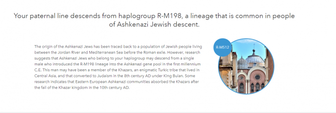 A screenshot of one user's 23andMe profile containing the reference to the Khazar theory of Jewish ancestry.
