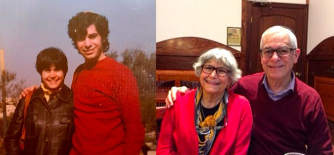 Debby and George Kornfeld around the time they immigrated to Israel (left) and today.
