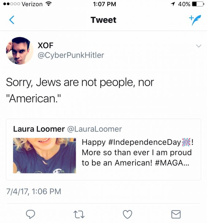 A response to Laura Loomer's tweet on the Fourth of July.