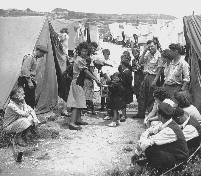Ma'abara Life: Jewish immigrants in a transit camp in 1950.